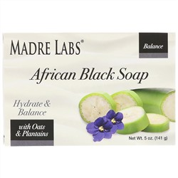 Madre Labs, African Black Soap Bar, With Oats & Plantains, 5 oz (141 g)