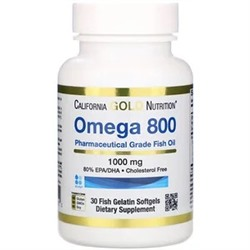 California Gold Nutrition, Omega 800 by Madre Labs, Pharmaceutical Grade Fish Oil, 80% EPA/DHA, Triglyceride Form, 1,000 mg, 30 Fish Gelatin Softgels