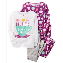 4-Piece Teacup Snug Fit Cotton PJs