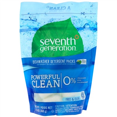 Seventh Generation, Diswasher Detergent Packs, Free & Clear, 20 Packs